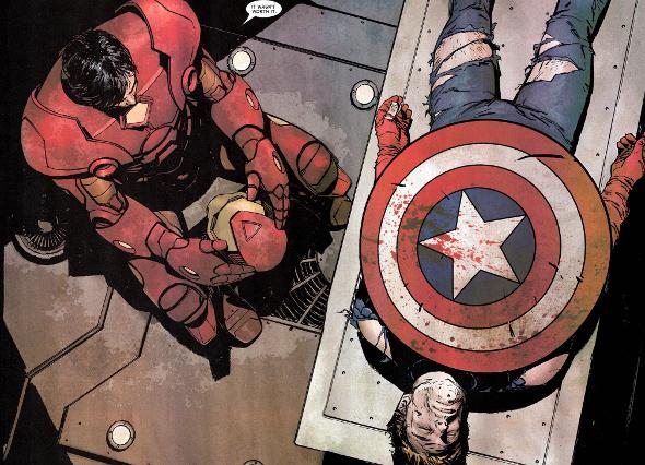 Iron Man amb el Capità Amèrica mort
