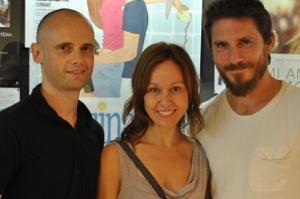 Marc Fàbregas, Chus Pereiro i Miquel Sitjar, director i protagonistes de 'Cuinant'